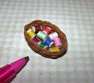 Miniature Basket of Cotton Thread Spools #1: DOLLHOUSE Miniatures 1/12 Scale