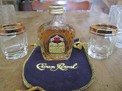 Vintage Collectible Crown Royal Canadian Whiskey Sealed Mini Bottle W/Bags