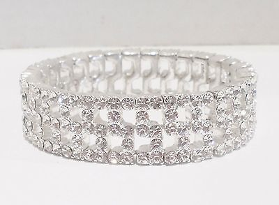 Bridal Bracelet Clear Rhinestone 5 Row Checkerboard S Pattern Stretch Wedding