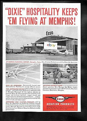 Dixie Air Service Esso Avation Products Keeps Em Flying At Memphis 1949 Ad