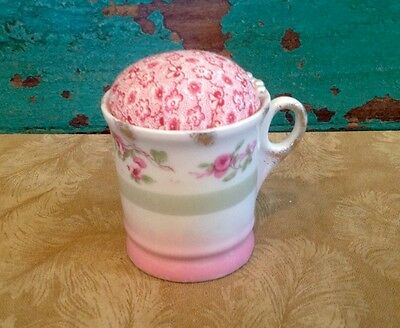 Vintage Cup Pin Cushion With Pink Flowers, Pink And Green, Floral Calico