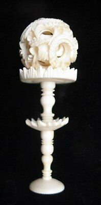 Vintage Hand Carved Chinese Mystery Puzzle Ball w/Stand Asian Oriental Nice LOOK