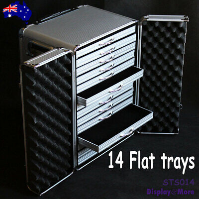 Jewellers Case | TRAVEL Show Trolley SUITCASE + 14 FLAT Trays | AUSSIE Seller