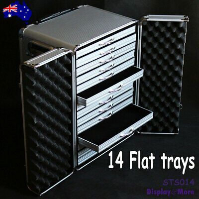 Jewellery TRAVEL Luggage Trolley SUITCASE + 14 FLAT Trays  | AUSSIE Seller