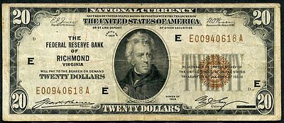 United States $20 National Currency The Federal Reserve Bank Of Richmond Va 1929