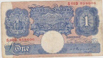 Replacement B250 Peppiatt Blue S02D £1 Banknote In Fine Condition