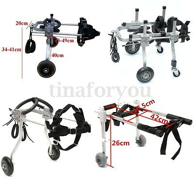 4 Types Stainless Steel Pet Wheelchair For Handicapped Hind Legs Dog Cat