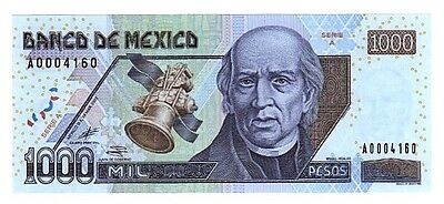 """MEXICO 1000 Pesos WITHDRAWN 2002 Series 'A' SubSeries 'A"""" P-121a CU PPD-USA"""