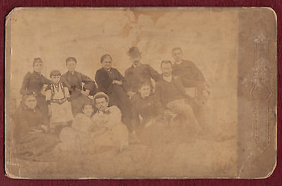 Late 19th c Vintage Cardboard Studio Group Family Photo Antique Serbia Mustache