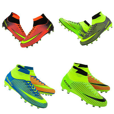New Men's Sole Cleats Outdoor High Ankle Football Boots Shoes Soccer Cleats