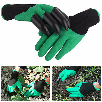 Garden GENIE Gloves For Digging&Planting 4 ABS Plastic Claws Gardening Guanti