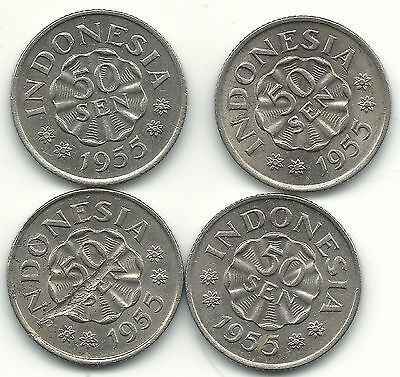 High Grade Au/unc Lot Of 4 1955 Indonesia 50 Sen Coins-Jul305