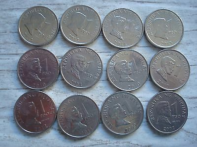 Philippines Coin Lot - 1 Piso - Jose Rizal - Lot of 12 - FREE SHIPPING Lot #83