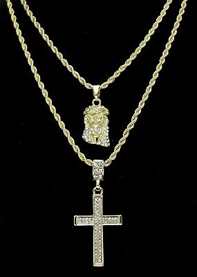 """14k Gold Plated 2 pc Jesus & Cross 20"""" 24"""" Rope Chain Set Mens Womens"""