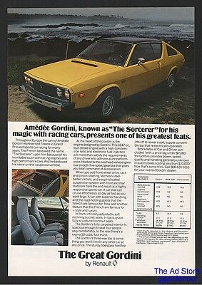 1977 Renault The Great Gordini 2 Door Mid Size Sports Car Fastback Coupe Ad