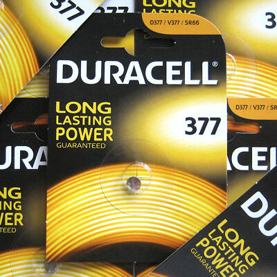 1 x Genuine Duracell 377 SR626SW AG4 SR66 D377 Watch Battery Silver Oxide