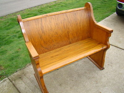 """Beautiful 42"""" wide antique oak church pew from Ohio church/ over 100 years old"""