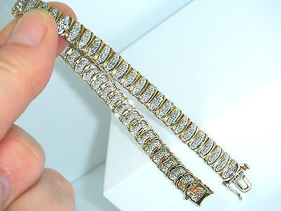 "9ct Gold 9k Gold Beautiful 1.50ct Diamond Ladies Hallmarked 7 1/2"" bracelet"
