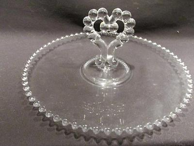 "Candlewick Mid-Century Clear Glass 12"" Cake Plate with Double Heart Handle"