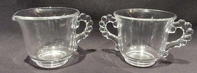 Candlewick Handled Mid-Century Clear Glass Cream & Sugar
