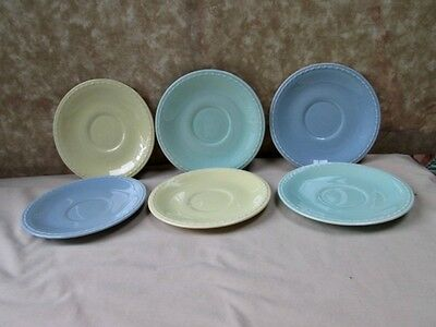 Vintage INTERSTATE SUNRISE,6 SAUCERS,C.1930,Taylor-Smith-Taylor,Pastel Colors