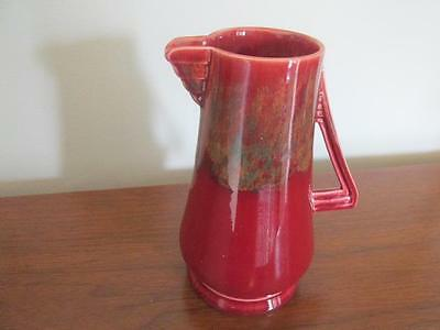 Ducal Ware Antique Red Drip Glaze Pitcher Triangular Handle & Spout Stamped X8