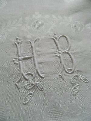 "Antique French pure linen damask tablecloth -  monogram ""H.B""  - 90"" x 62"""