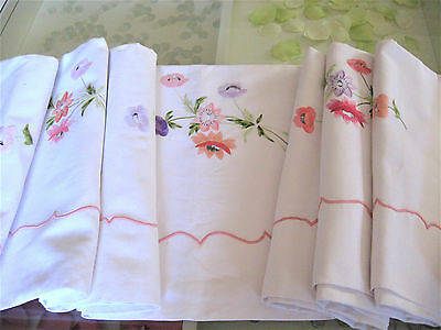 Truly Beautiful Vintage French White Metis Linen Sheet Full Width Embroidery