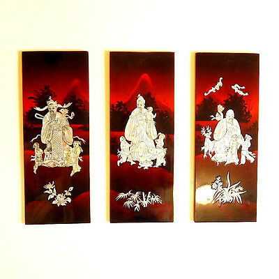 Chinese Sanxing Wall Hanging 3 Panels Lacquer Mother of Pearl 3 Stars Fu Lu Shou