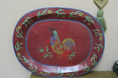 """Vintage Toleware Hand Painted Rooster Chicken Red Tray 19"""" X 24"""" Tin Tole"""