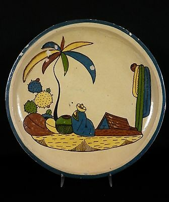 """11"""" Old Vintage MEXICAN Tlaquepaque Campesino Blue Rim Art Pottery Plate"""