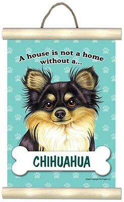 """A house is not a home without a (choose dog breed)"" mini scroll wall hanging"