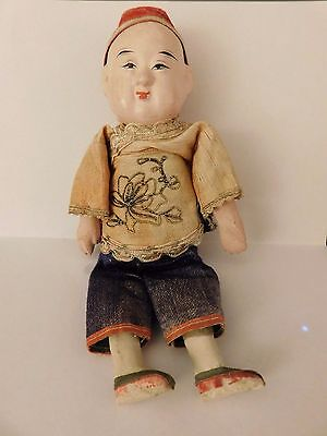 ANTIQUE CHINESE Japanese composition and cloth body boy doll silk jacket