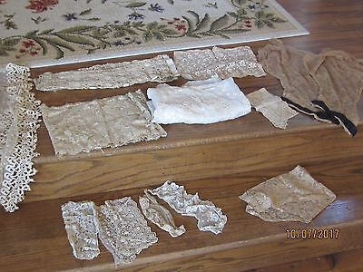 Lot Antique Lace Trim and Clothing Pieces