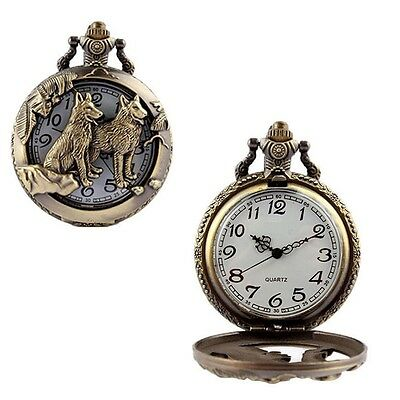 Retro Womens Men's Pocket Watch Pendant Old-fashioned Vintage Bronze With Chain