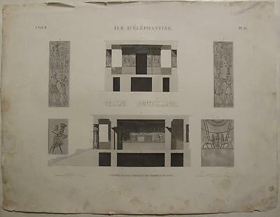 Elephantine Temple Of Khnum 1820 Vivant Denon Large Imperial Size Antique View