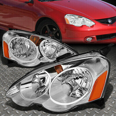For 2002-2004 Acura Rsx Dc5 Pair Chrome Housing Amber Corner Headlight/lamp Set