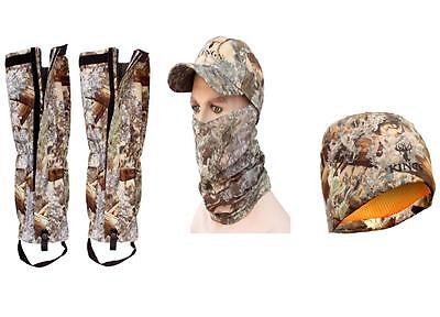 5pc Kings Camo Accessories Bundle Gaiters, Hat, Beanie, Neck Mask Desert Shadow