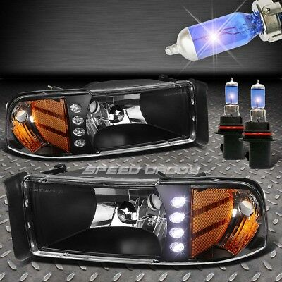 Black Led Drl 1Pc Clear Lens Headlight+Corner+Xenon Bulbs For 94-02 Ram Truck