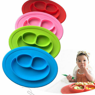 Baby Kids Silicone Mat Happy Dish Suction Table Food Tray Placemat Plate 2017