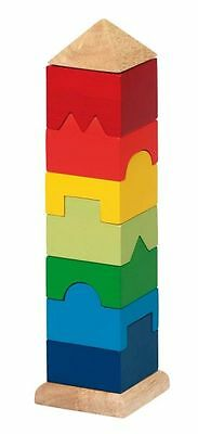 Stacking Tower Pegging Game Stack Plug-In Tower Wood Multicolour