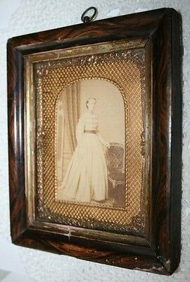 Antique Daguerreotype Style Brass Ornate Victorian Picture Frame Wooden Hanging