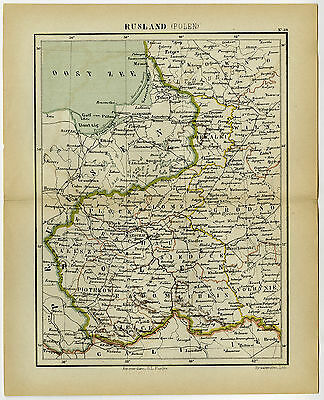 Antique Map-POLAND-RUSSIA-BALTIC SEA-Kuyper-1882
