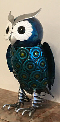NEW 20cm Hand Painted Metal Owl Gift Ornament Figurine Retro Novel Decoration