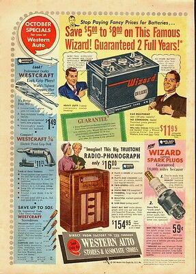 1949 Vintage ad for Western Auto Stores`old radio-phonograph (033114)