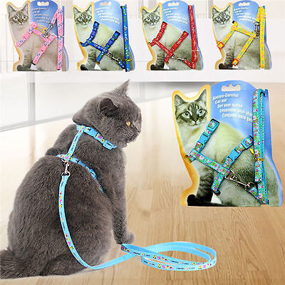Pet Cat Adjustable Harness Collar Leash Lead Safety Walking Rope Flower pattern