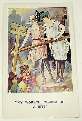 """Postcard - Comic - Fred Spurgin - """"my Work's Looking Up A Bit!"""" 1922"""