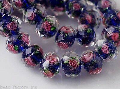 10Pcs Royal Blue Flower Rondelle Charm Jewelry Loose Glass Beads Findings 12mm