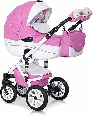 RIKO BRANO ECCO PRAM BABY PINK-18 3in1  CARRYCOT + PUSH CHAIR + CAR SEAT