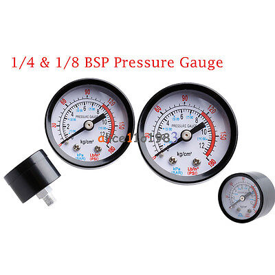 1/4 &1/8 BSP Air Compressor Male Threaded 0-180PSI 0-12Kg/cm2 Pressure Gauge